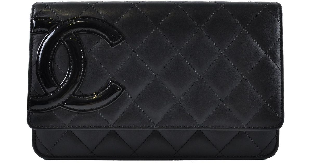 c9cf542a4d2b Chanel Cambon Woc Black Lambskin With Cc Patent Logo And Pink Interior in  Black - Lyst