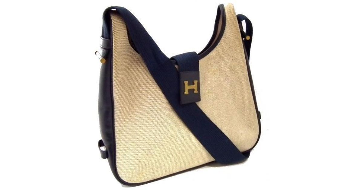 8e3eae3887 where can i buy hermès saco shoulder bag toil ash leather navy h mark in  blue