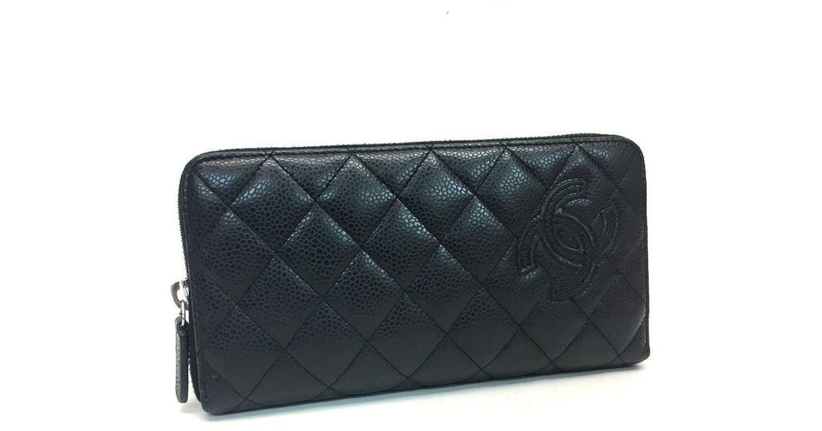 19c336b47436 Chanel Matelasse Simply Cc Cc Mark Zip Around Long Wallet Long Wallet Black Caviar  Leather A80213 in Black - Lyst