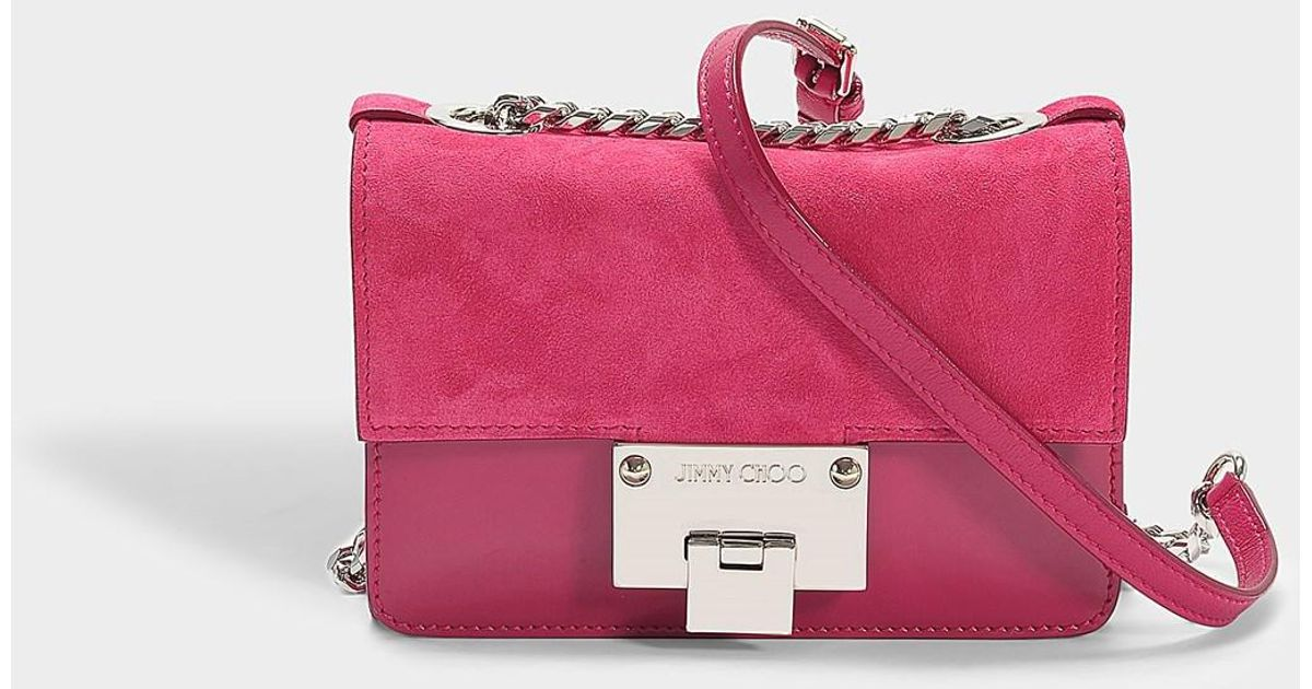 Lyst Jimmy Choo Rebel Soft Mini Bag In Cerise Suede And Patent Leather Pink