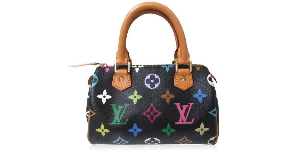 1074b0bbc20c6 Lyst - Louis Vuitton Mini Speedy Handbag Bag Monogram Multicolor Black  M92644 in Black