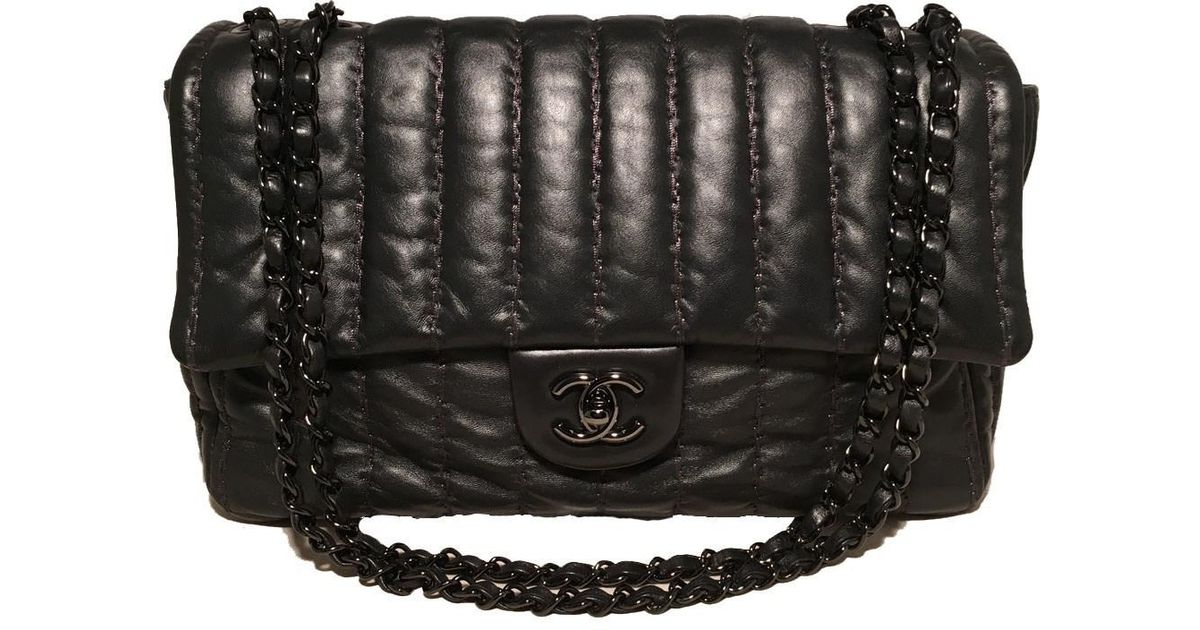 cbeee8f9fad4 Chanel Rare Black Shimmery Leather Striped Quilted Jumbo Classic Flap in  Black - Lyst