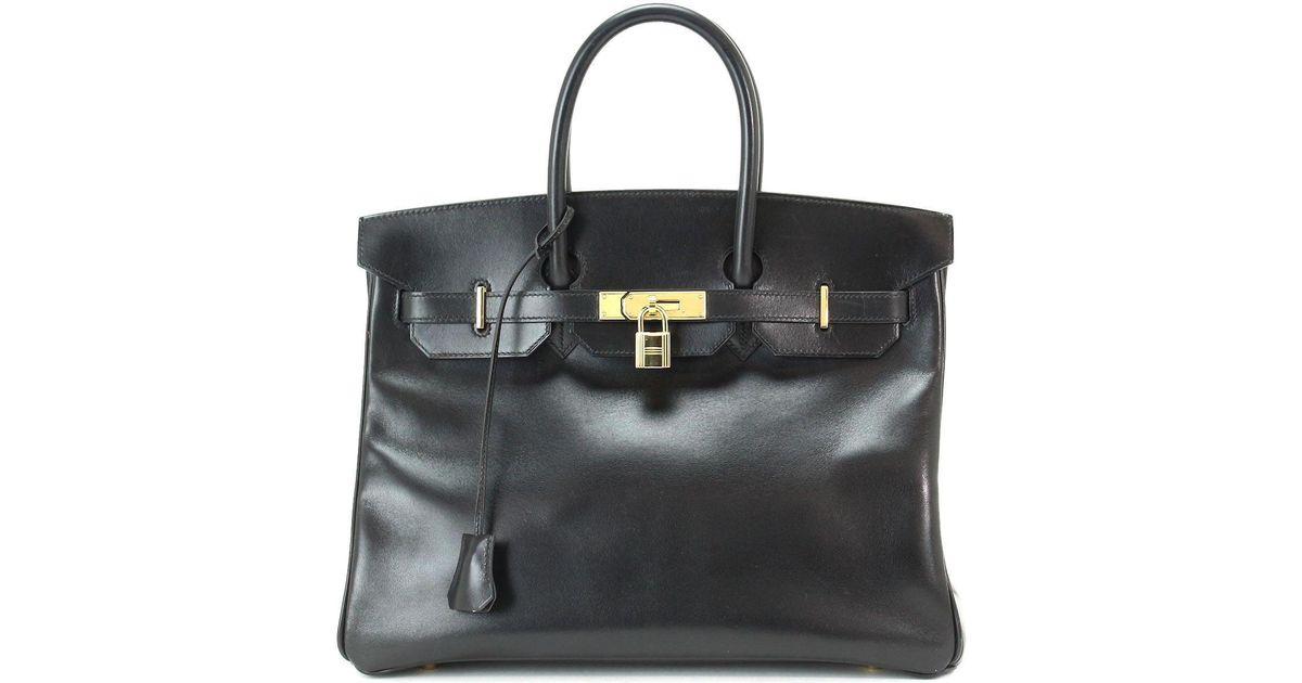 8fc3da5dded4 Lyst - Hermès Birkin 35 Box Calf Leather Black Hand Bag Stamp C Purse  90042999.. in Black