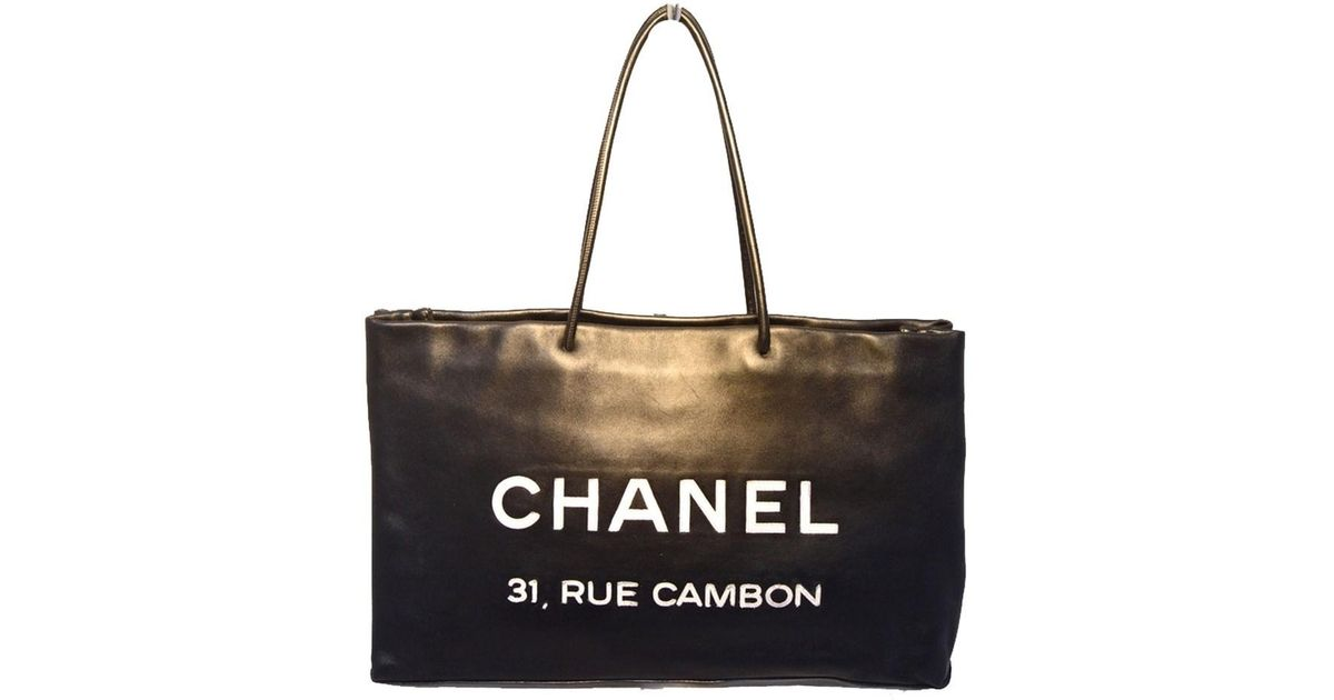 f24dc470f5 Lyst - Chanel Leather Rue Cambon Shopping Black Tote Bag in Black