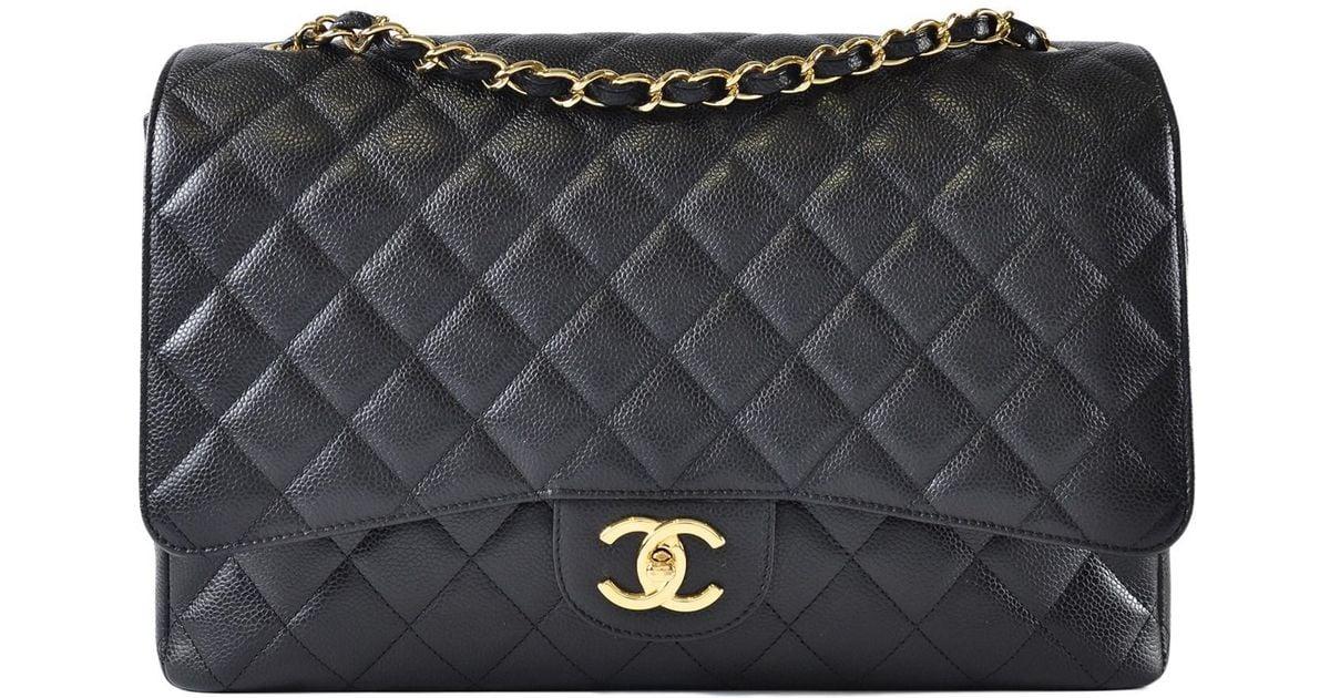 266d719e788d Lyst - Chanel Maxi Jumbo Caviar Classic Flap In Black Ghw in Black