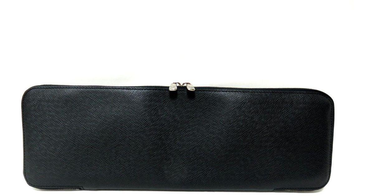 new arrival 345bd bb55a Louis Vuitton - Authentic Etui Cravatt Tie Case M30302 Taiga Leather Noir  Black for Men - Lyst