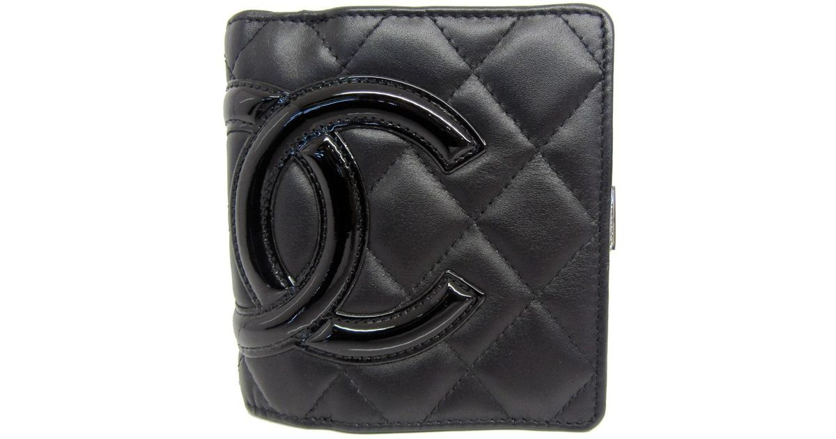 f12708b23a6e Chanel Authentic Cambon Bifold Wallet Purse Black Lamb Leather Used Vintage  in Black - Lyst