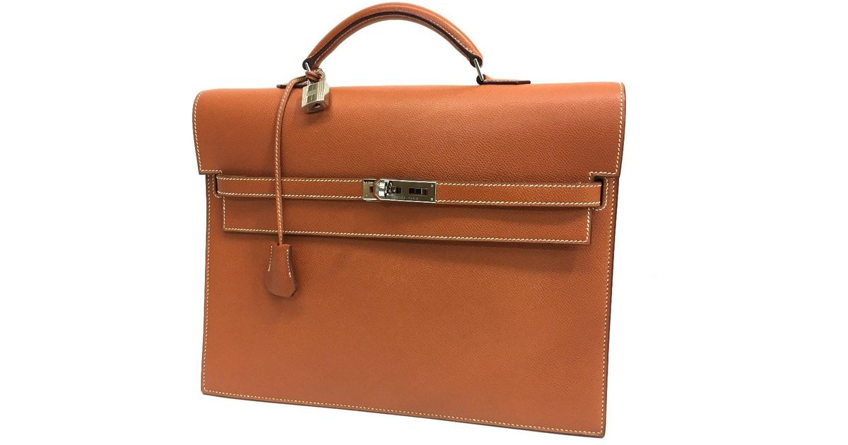 acc0c0fd8d5 Lyst - Hermès Kelly Depeche 34 Briefcase Business Bag Gold silverhardware  Epsom in Metallic