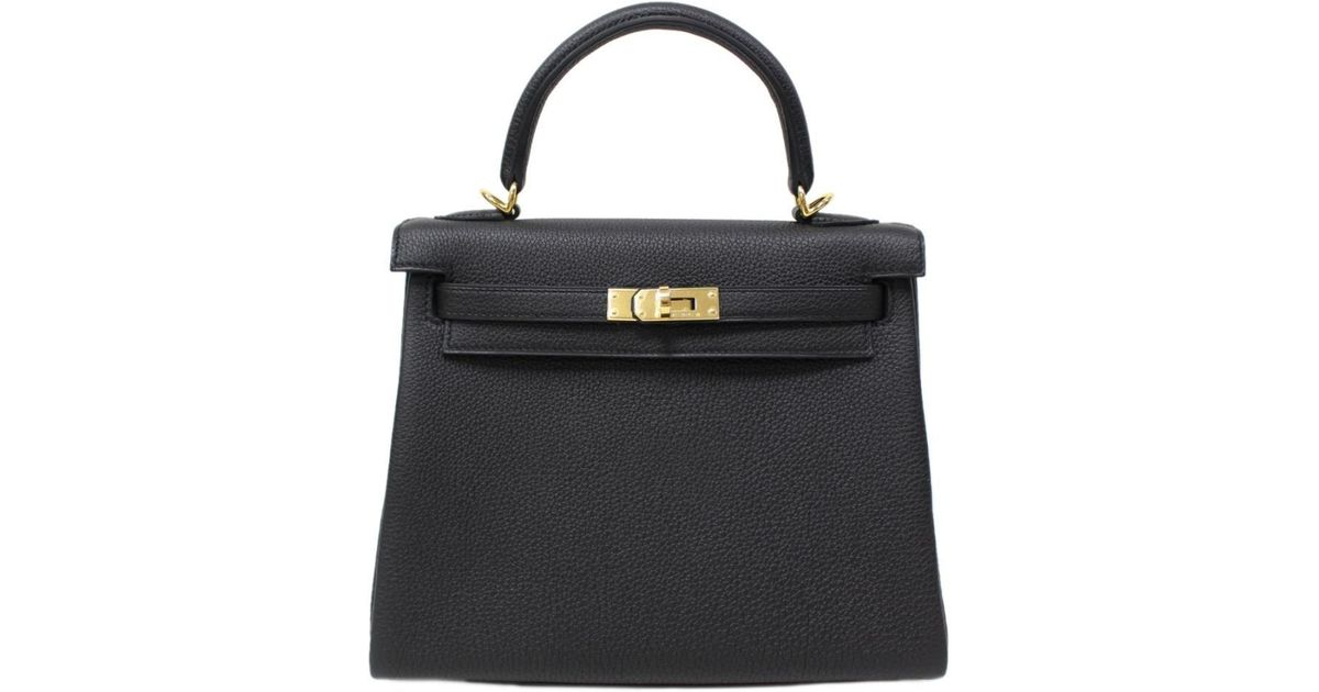 b795fab45ce5 Lyst - Hermès Kelly 25 Handbag 2way Shoulderbag Togo Leather Black Ghw in  Black