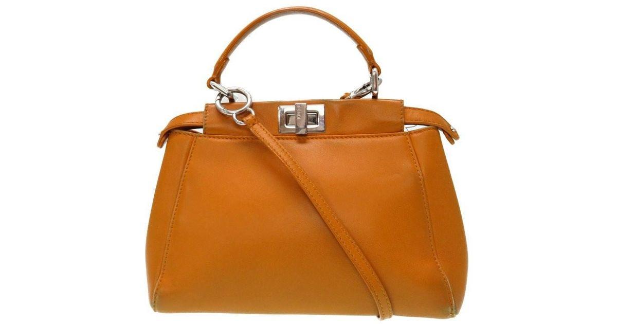 b2f397874a9c Lyst - Fendi 8 Bn 244 2 Way Mini Peekaboohand Bag Yellow Leather 0391 in  Yellow