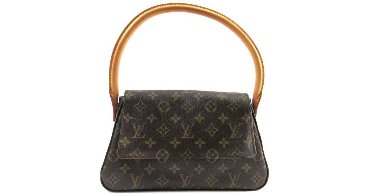 a9d944d55478f Louis Vuitton Mini Looping Flap Shoulder Bag Monogram Canvas M51147 in Brown  - Lyst