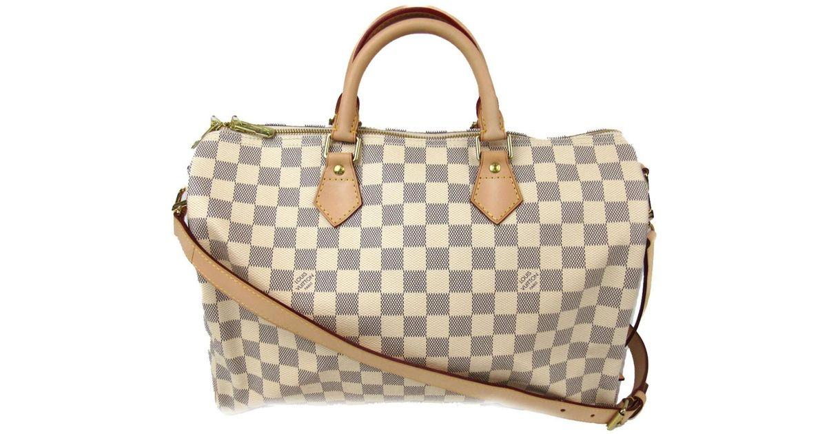 4d299d4b9d0e Lyst - Louis Vuitton Speedy Bandouliere 35 2way Shoulder Bag Damier Azur  N41372 in White