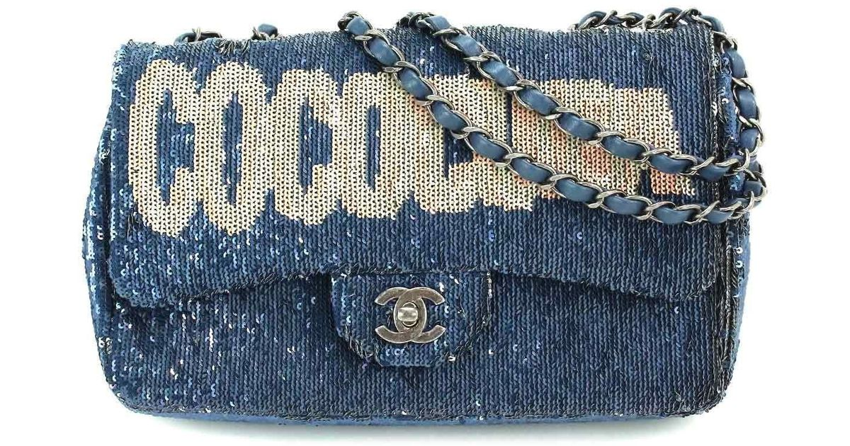 886c12937549 Chanel Coco Cuba Spangle Shoulder Bag Blue A98613 Purse 90040591.. in Blue  - Lyst