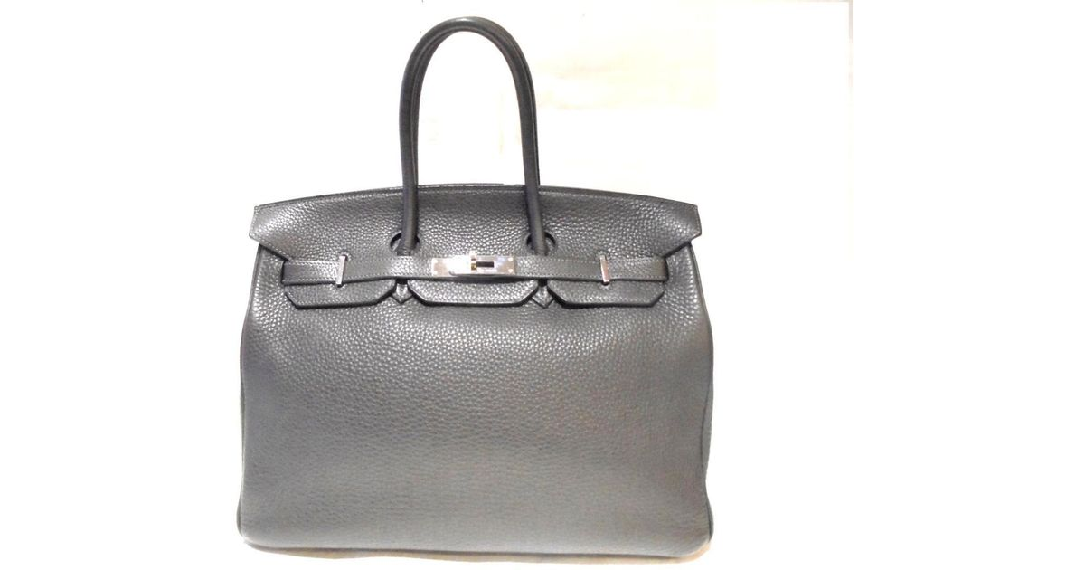 6b192b8c1c1f ... spain lyst hermès birkin 35 handbag totebag clemence leather graphite  shw in gray 5f4e6 2da9b