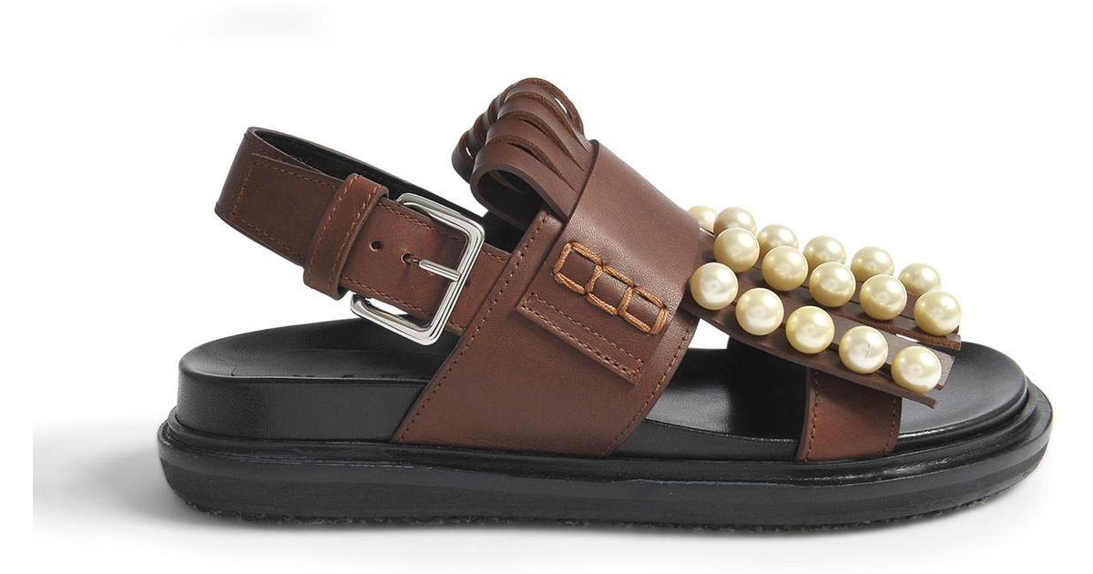 Fussbett Sandals with Pearls in Peanuts Calf Marni R3G4vyi