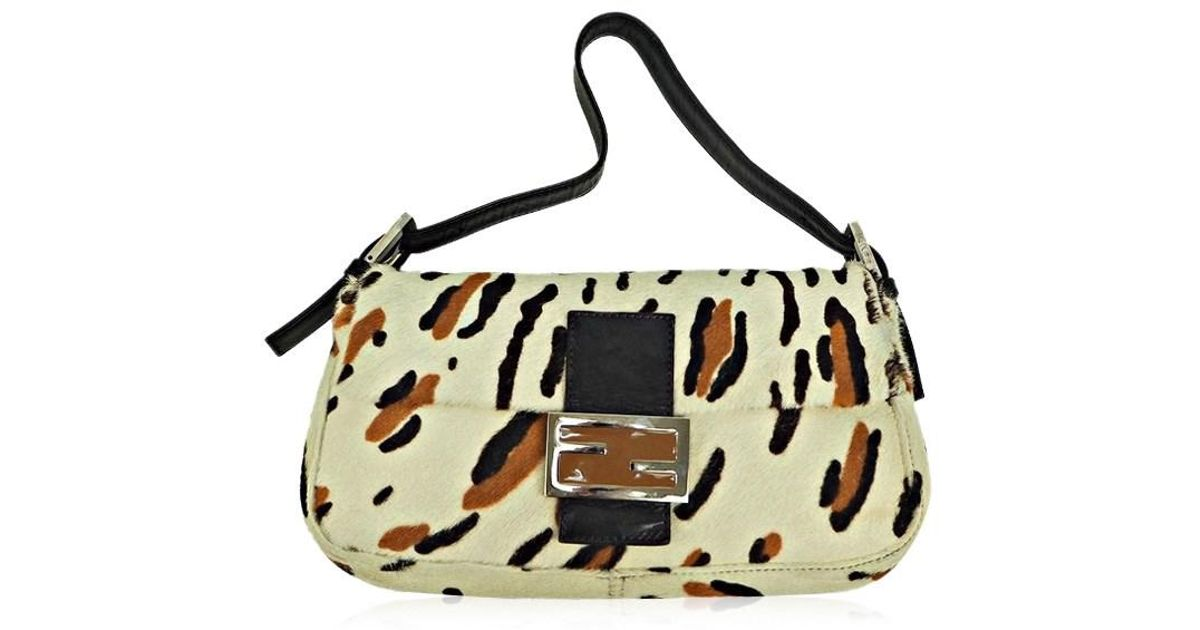 ... wholesale lyst fendi shoulder bag harako mamma baguette spawn fur off  white animal design used b edcb487558631