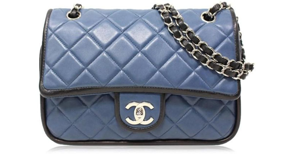 9e458529dc8f Chanel Matelasse Cc W Flap Chain Shoulder Bag Leather Blue/black Used  Vintage in Blue - Lyst