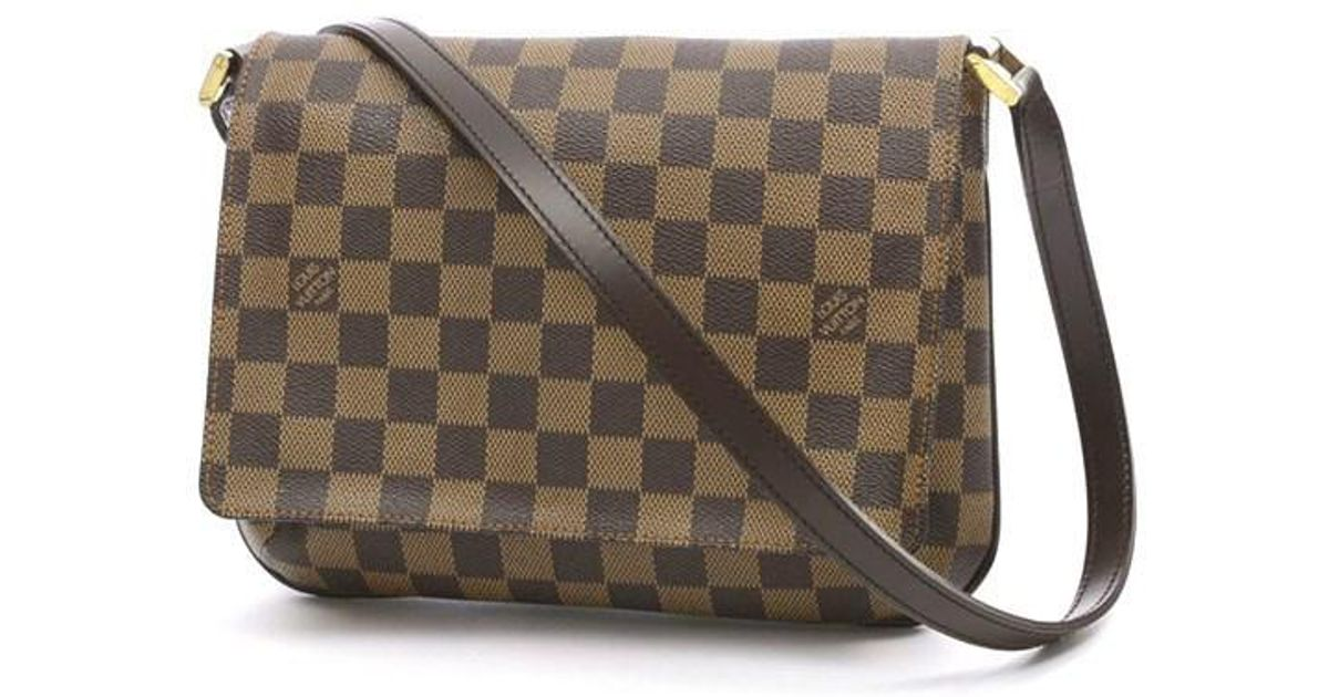 6e9193a9a15e Lyst - Louis Vuitton Damier Musette Tango Long Shoulder N 51301 in Brown