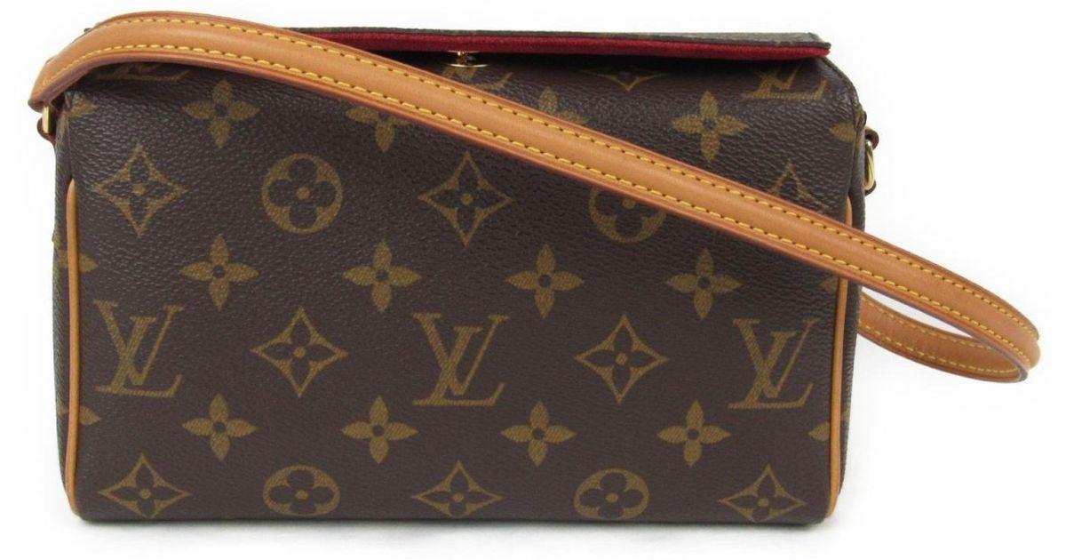 d2de47df2ade Lyst - Louis Vuitton Recital Shoulder Bag Monogram Canvas M51990 in Brown