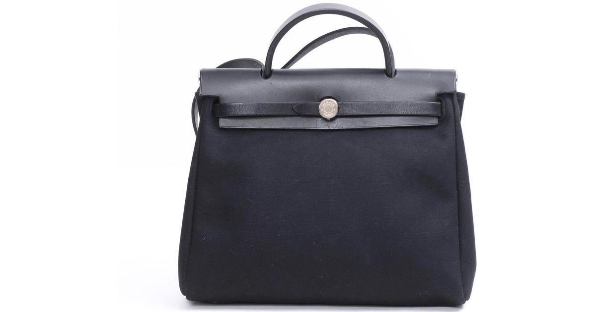 b7d97094e06a Lyst - Hermès Herbag Pm Shoulder Bag Canvas X Leather Black Natural in Black