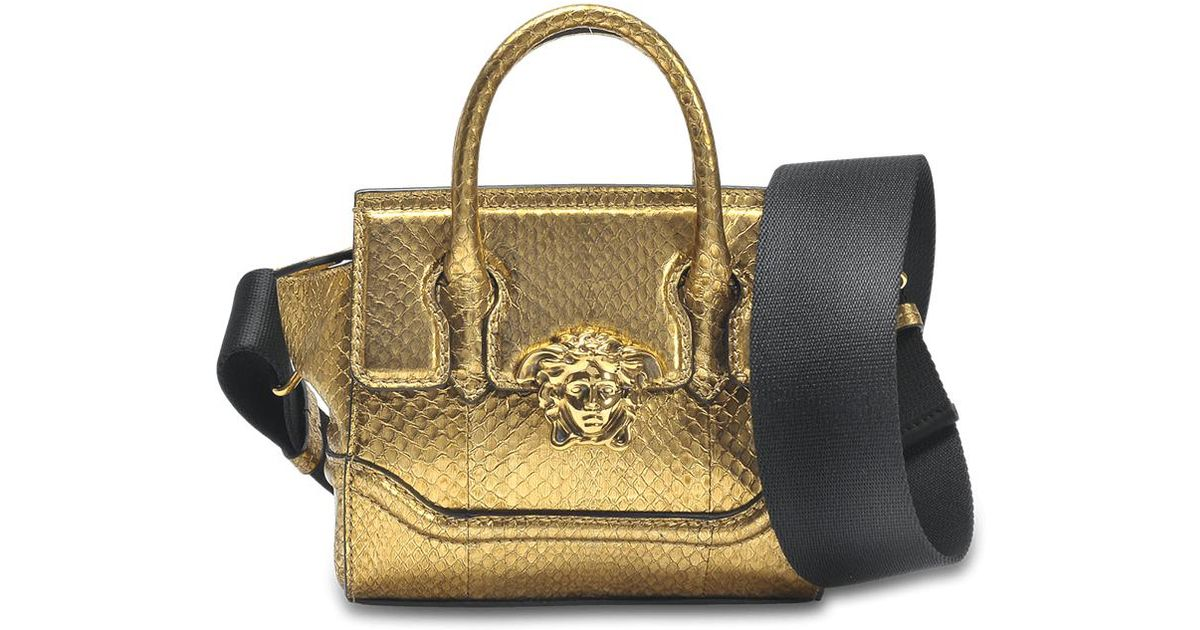 14305b511c8c Lyst - Versace Palazzo Empire Mini Bag In Gold Watersnake in Metallic