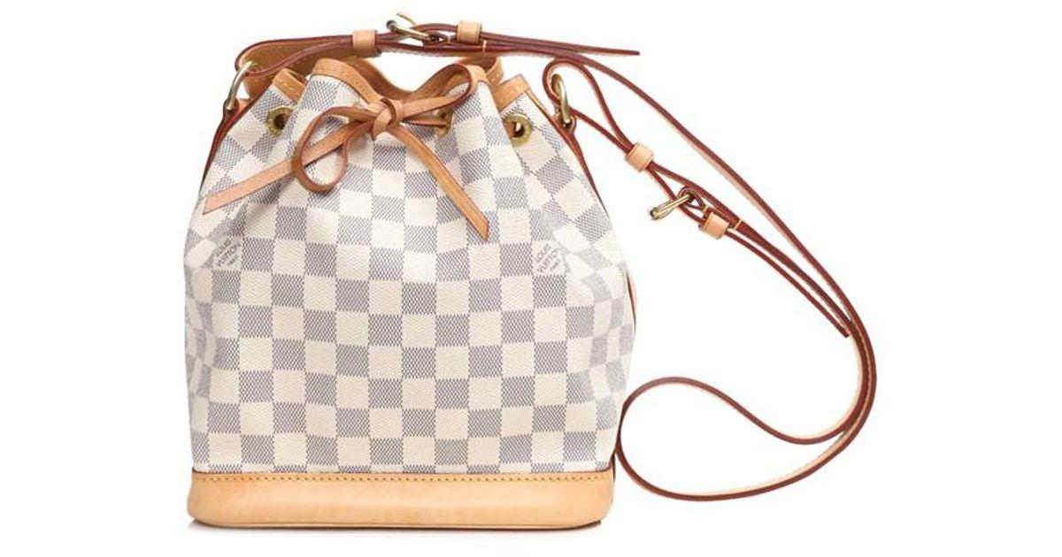92e792445659 Lyst - Louis Vuitton Noe Bb Drawstring Purse Shoulder Bag Damier Azur  N41220 in Brown