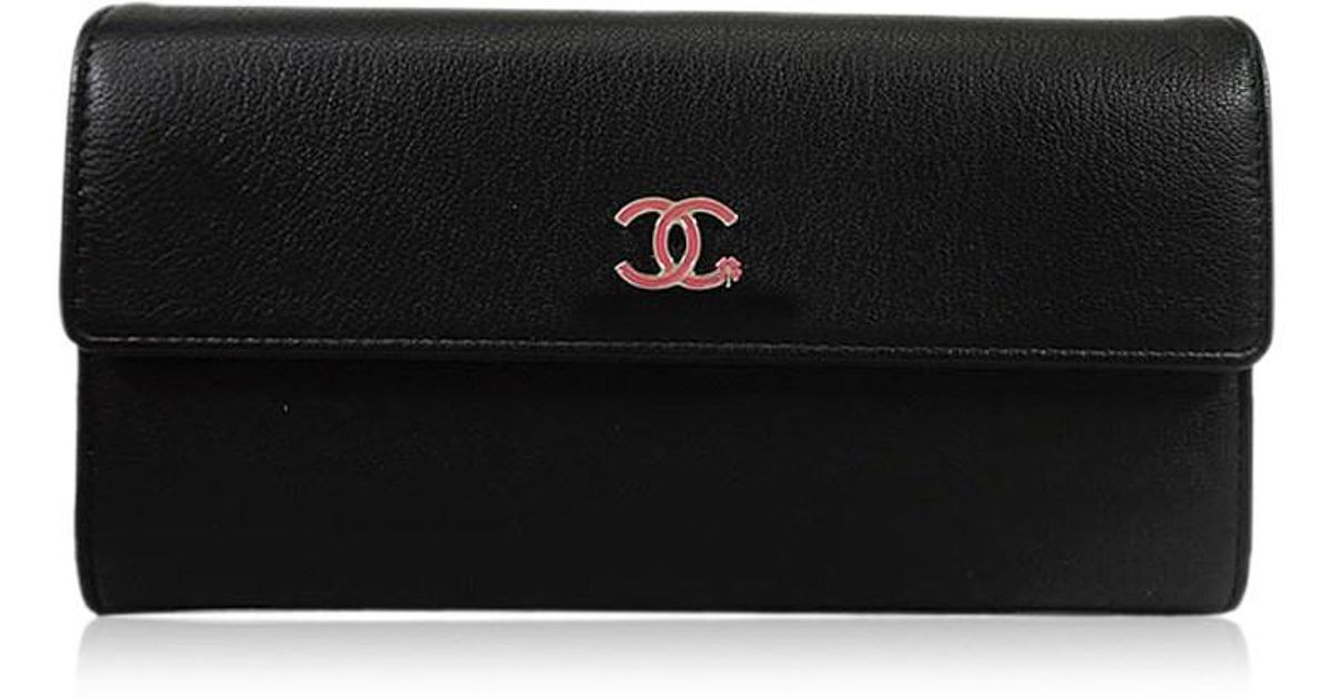 fd402aa55ef1d9 Chanel Ccmark Lucky Clover Flower Stalk Long Wallet Black/pink A84203[brand  New][authentic] in Black - Lyst