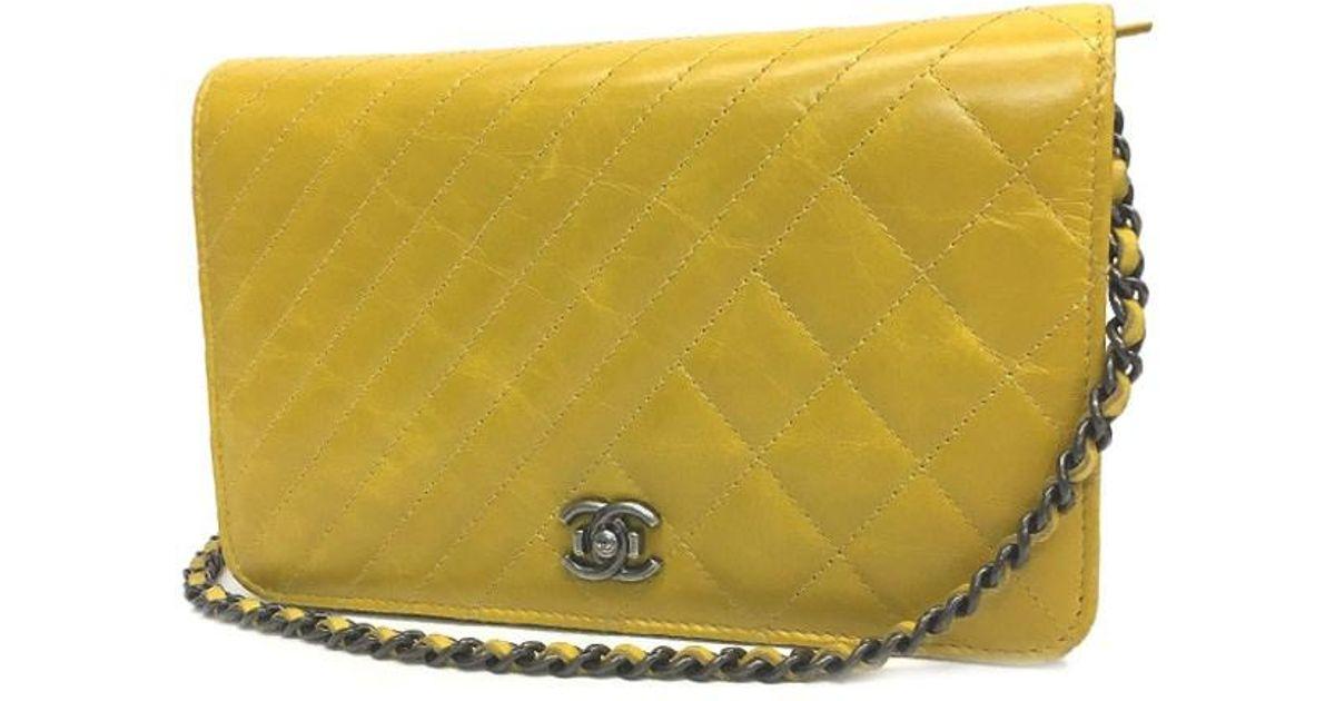 18b8cc005f88 Lyst - Chanel Boy Double-stitch Chain Wallet Woc Bag Mustard Yellow in  Yellow