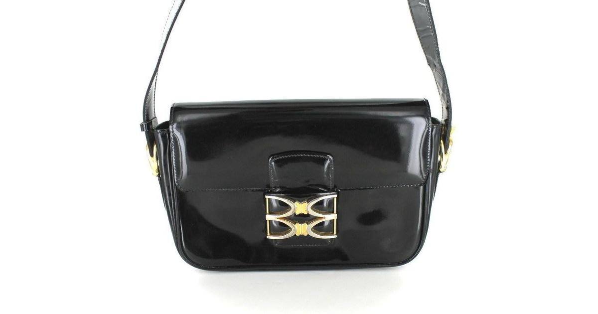 aecdbfbd3b Lyst - Céline Céline Vintage Black Patent Leather Bag   in Black
