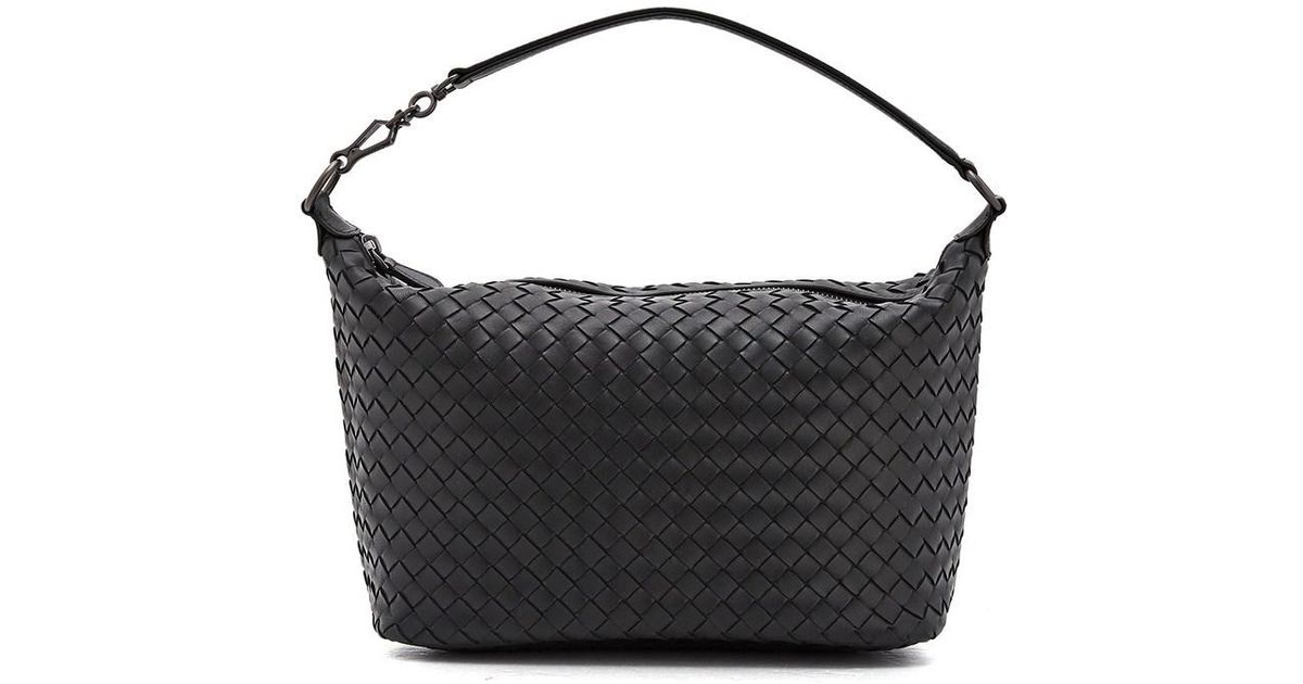 Lyst - Bottega Veneta Intrecciato Nappa Brunito Loop Handle Bag in Black 25148481162ef