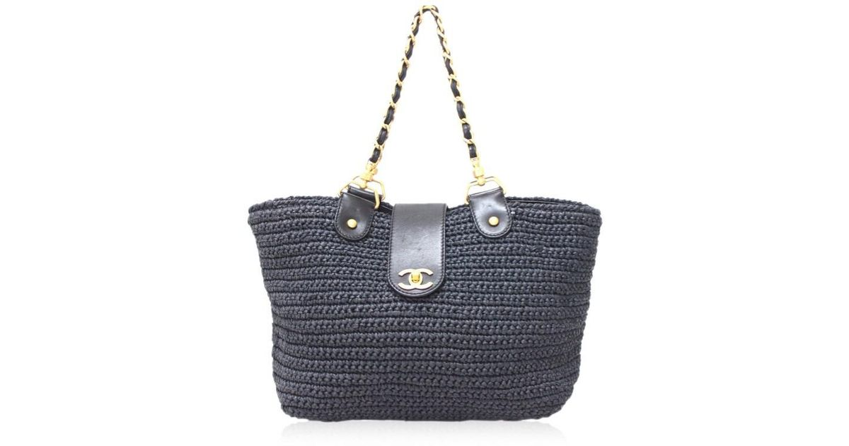 8ed623452913 Chanel Straw Weaving Chain Shoulder Tote Bag Navy/gold Hw in Blue - Lyst