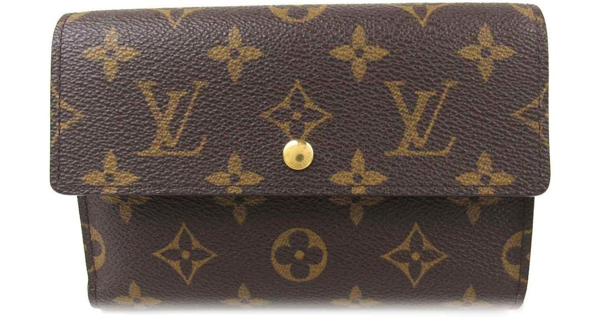a8e506b14ad3 Lyst - Louis Vuitton Porte Tresor Etui Papiers Tri-fold Wallet Monogram  Canvas M61202 in Brown