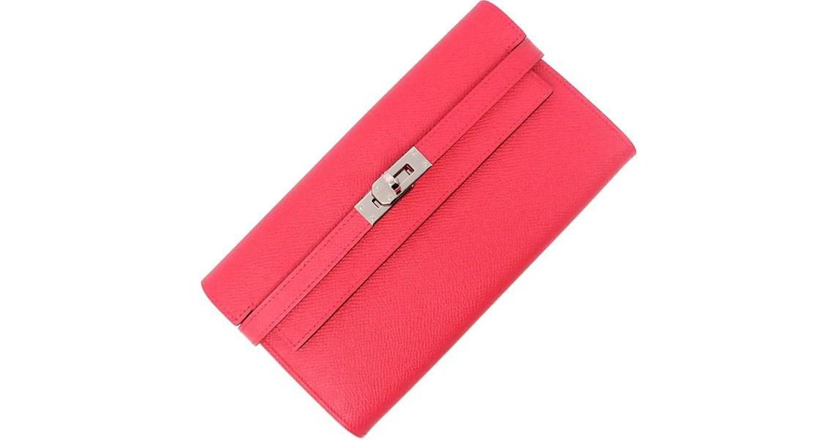 710dc7fafbf6 Lyst - Hermès Kelly Wallet Long Rose Extreme Epsom Leather Women s Rare  Bifold Wallet in Pink