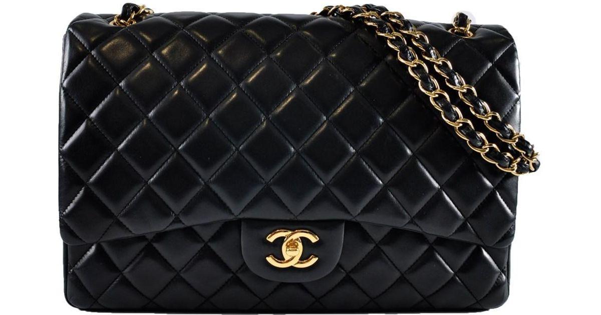 05e21e738ae2 Lyst - Chanel Maxi Single Classic Flap Black Lambskin Ghw 13799942 in Black
