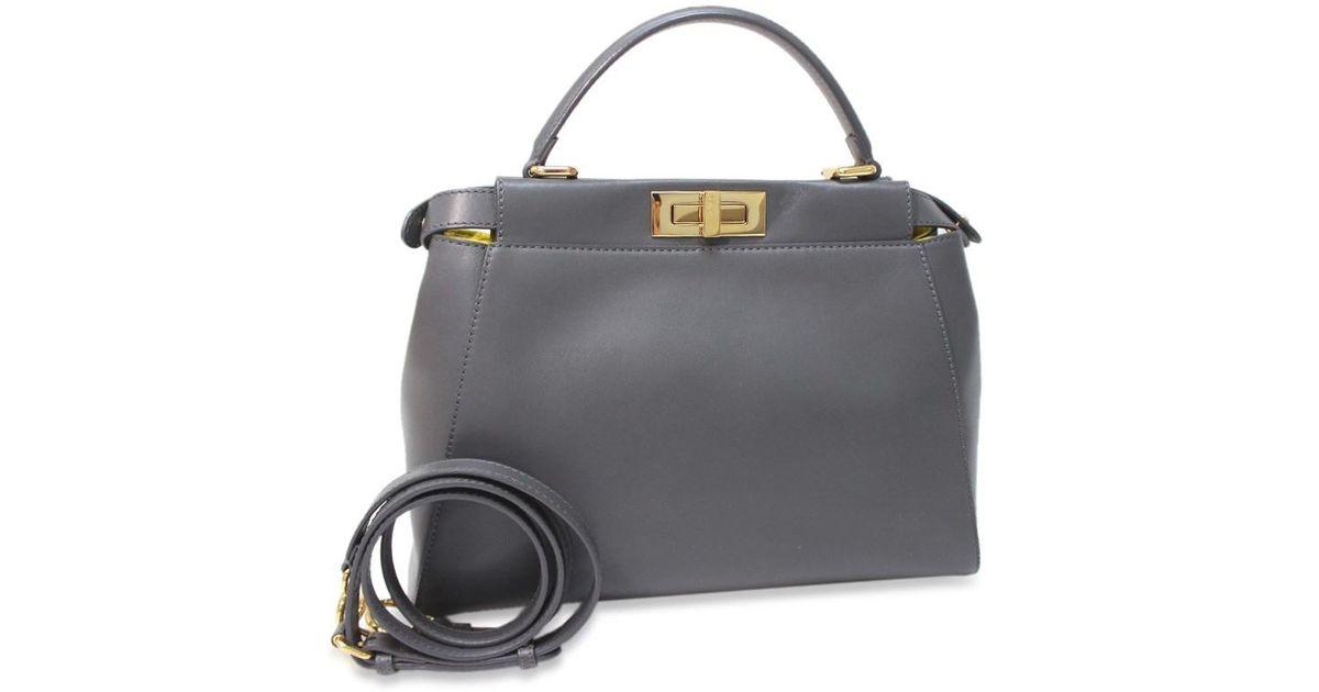 b3669d77bb2 Lyst - Fendi Peek-a-boo Tote Bag Hand Bag Gray/yellow Leather 8bn226 in Gray