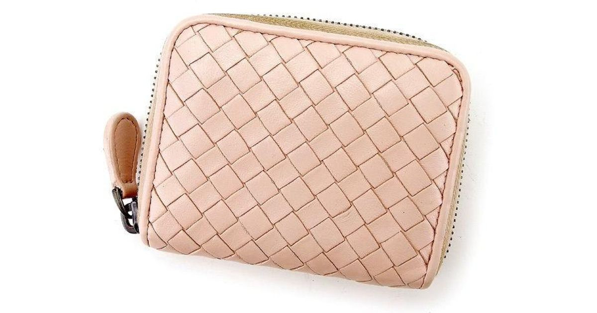 908779d9d3d6 Lyst - Bottega Veneta Coin Wallet Intrecciato Womens Used T2897 in Pink