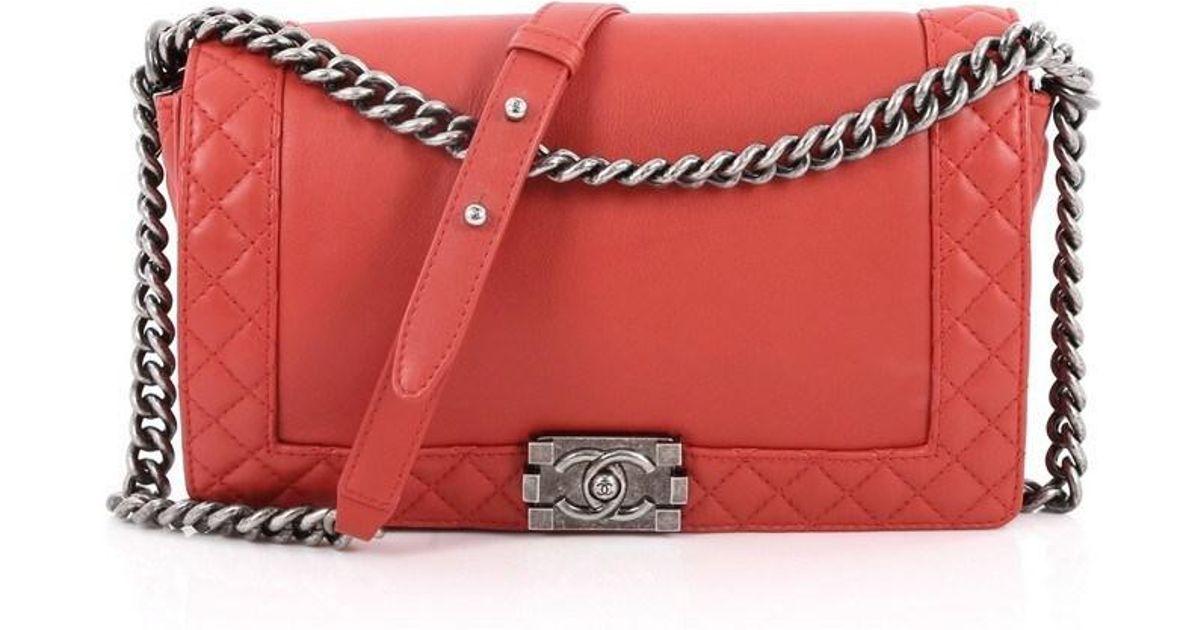 ee3a0fba0293 Lyst - Chanel Reverso Boy Flap Bag Calfskin New Medium in Red