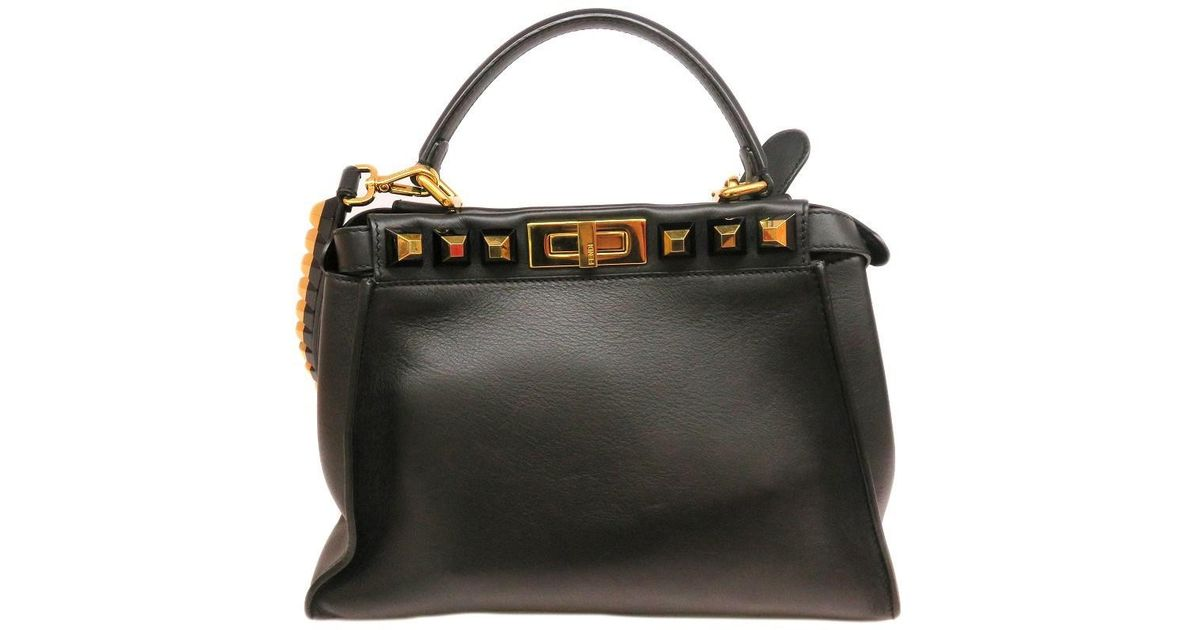 281e6af604c7 Lyst - Fendi Calfskin Leather Peekaboo Handbag Satchel Bag Black 1874 in  Black