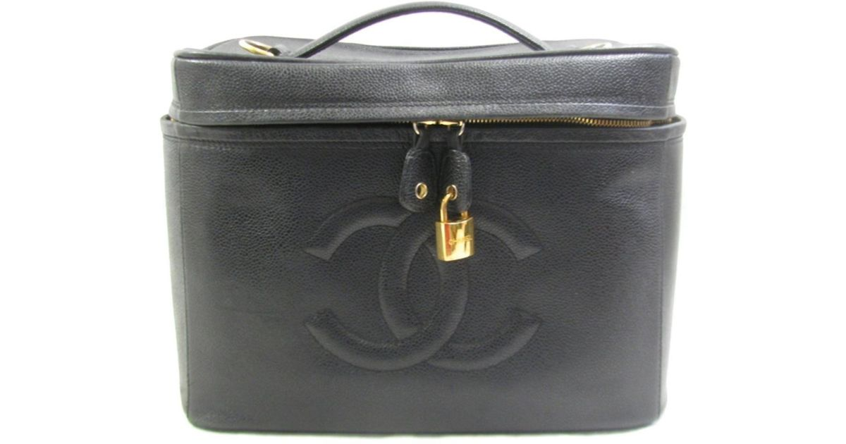 68a4fc64bb8797 Lyst - Chanel 2way Shoulder Bag Vanity Caviar Leather Black Cosmetic Pouch  in Black