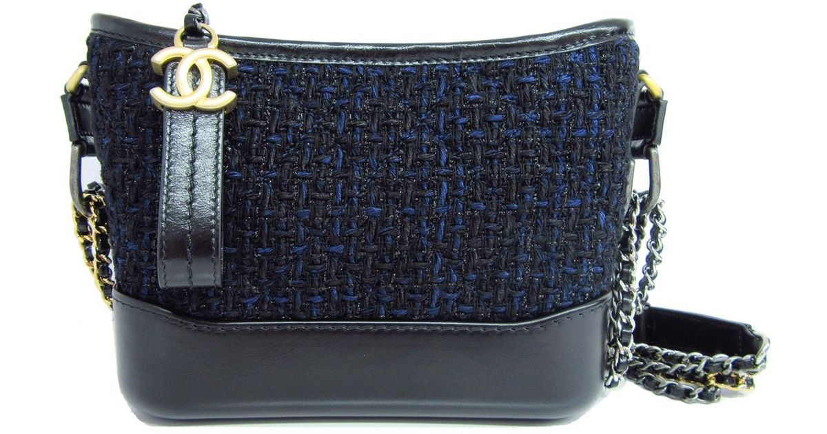 4f202f3e6d300f Chanel Gabrielle Small Hobo Bag Shoulder Hand Bag Tweed Black Navy Blue  A91810 in Black - Lyst