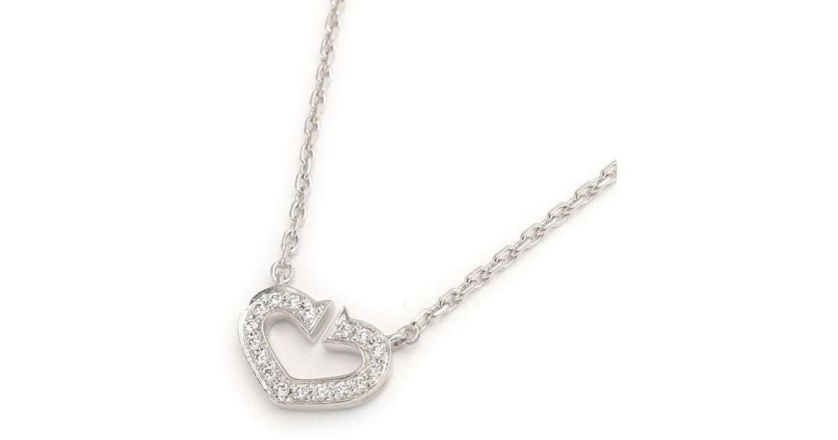 d7798ccee30 Lyst - Cartier Tiffany co. C Heart Diamond Necklace K18 750 White ...
