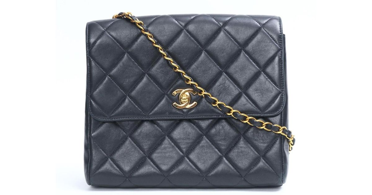 8608575c9e82 Lyst - Chanel Matelasse Line Chain Shoulder Bag Lambskin Leather Black in  Black