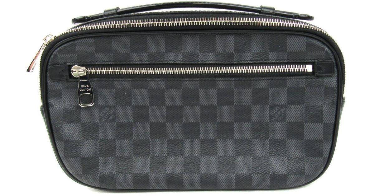 708405fcba79 Lyst - Louis Vuitton Ambler Body Bag Waist Bag N41289 Damier Graphite Black  in Black for Men