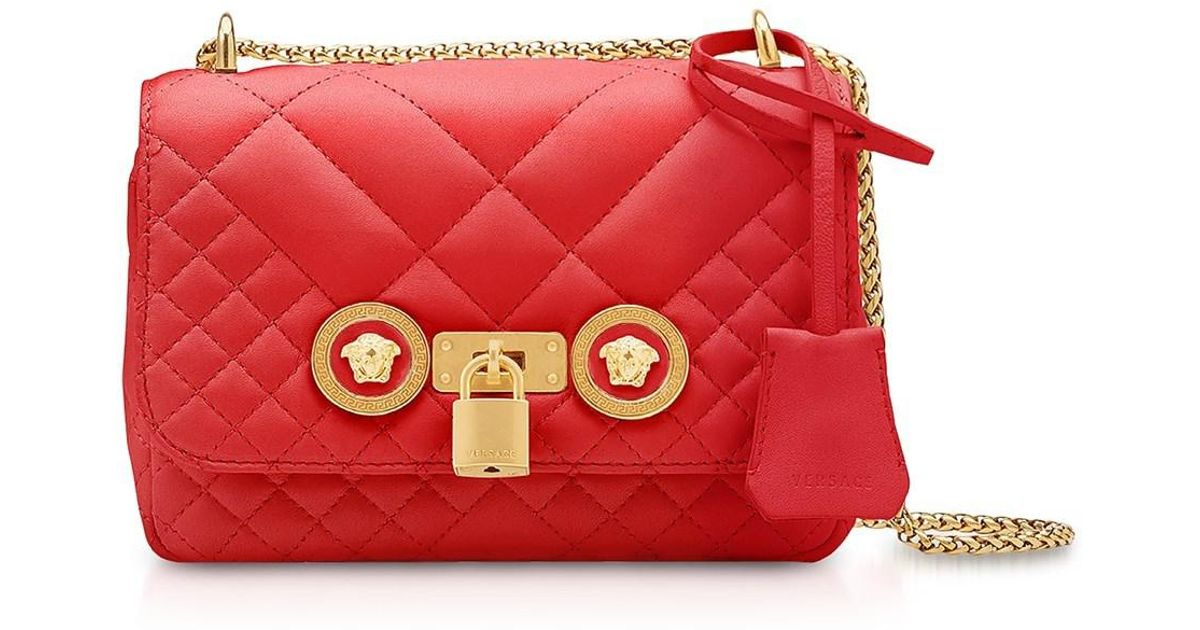 0e55ba95378a Lyst - Versace Small Quilted Leather Icon Small Shoulder Bag in Red