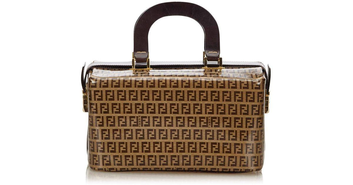 33a9bb5d941 Lyst - Fendi Zucca Coated Canvas Handbag in Brown
