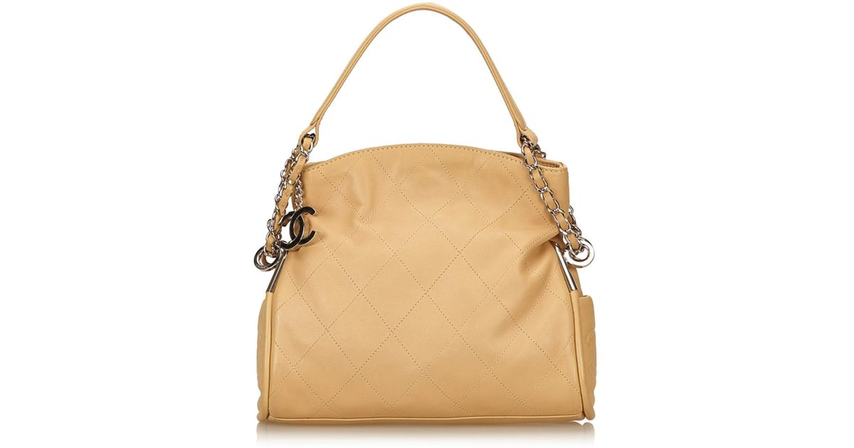 ceadd2aa1e8f Lyst - Chanel Wild Stitch Lambskin Leather Shoulder Bag in Natural