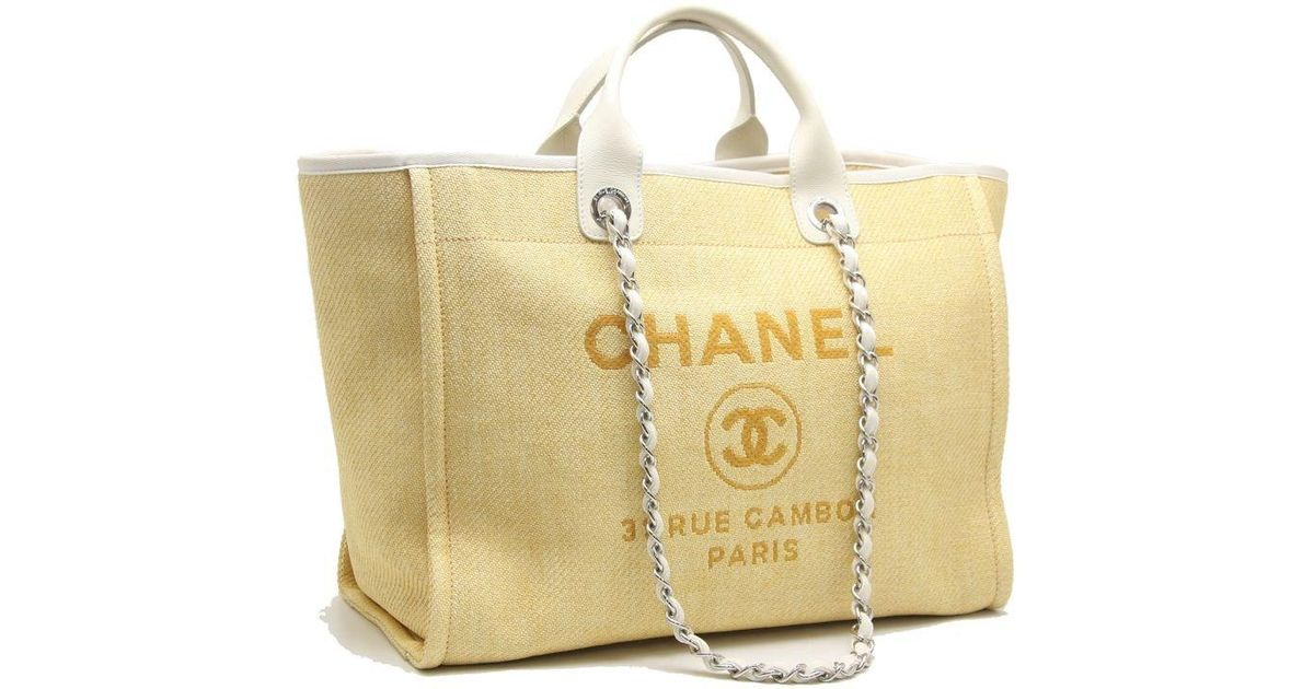 11fa00db6e70 Chanel Deauville Gm 2way Tote Bag A66941 Yellow X Ivory /59098 in Yellow -  Lyst