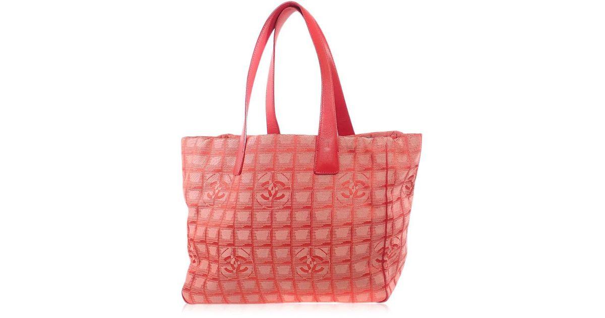e2b7f32b93aa3e Lyst - Chanel Nylon Jacquard Tote Bag New Travel Line Mm in Red