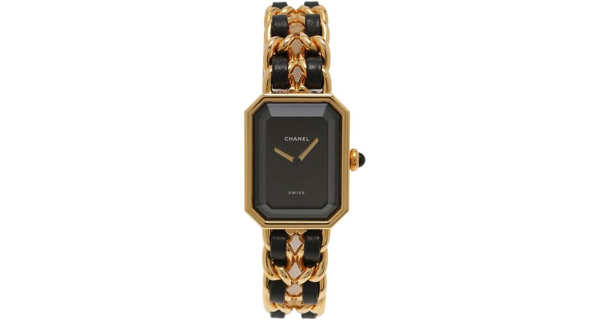 Chanel Metallic Premiere M Quartz Watch Ladies Gold Ss Leather Black Lyst