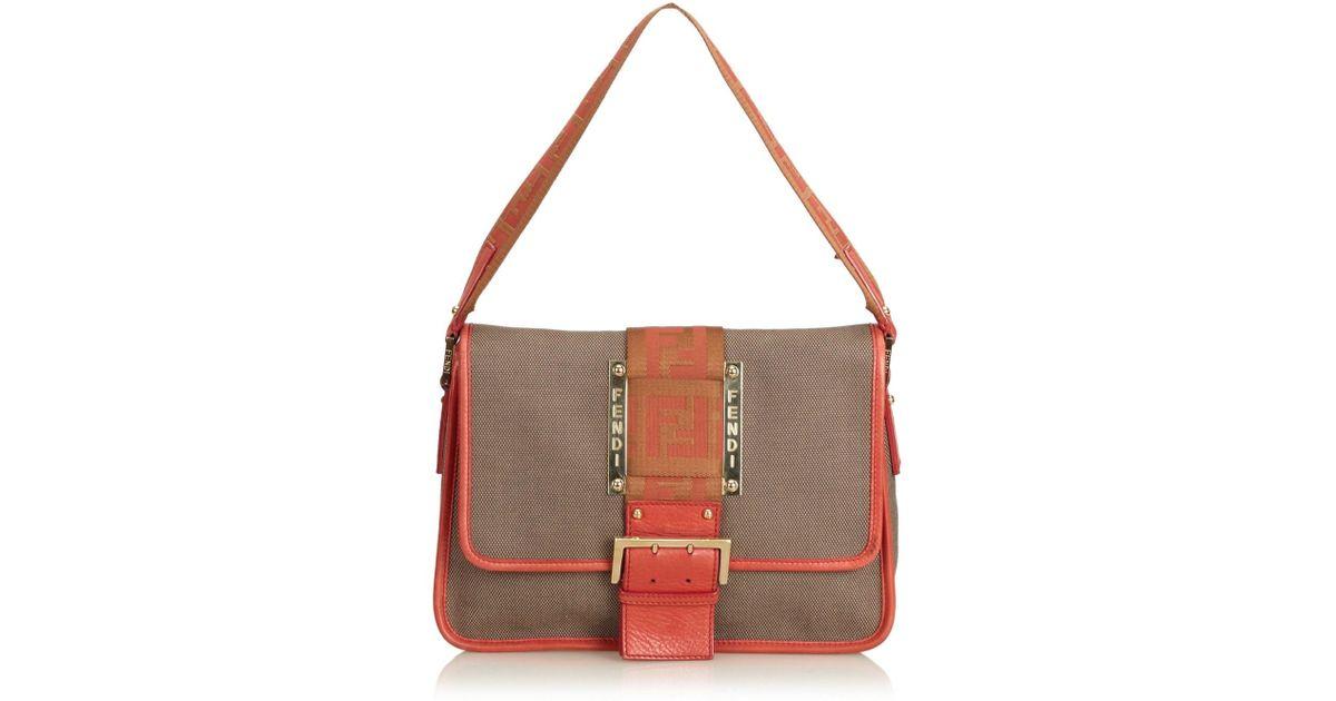 1a86f16207e1 Lyst - Fendi Zucca Canvas Shoulder Bag in Natural